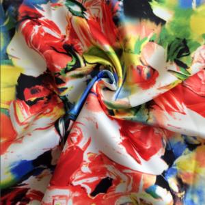 Polyester Valentino Dull Satin Fabric Digital Printing